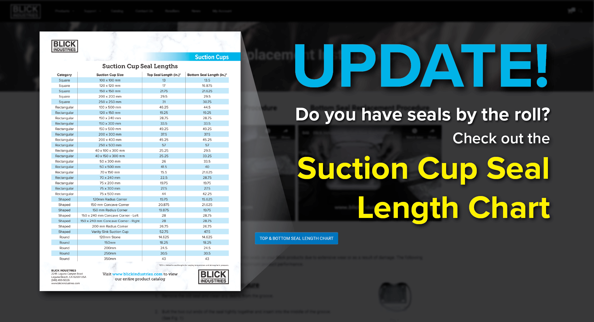 Suction Cup Seal Length Chart