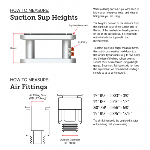 Suction Cup and Fittings Measurement Chart